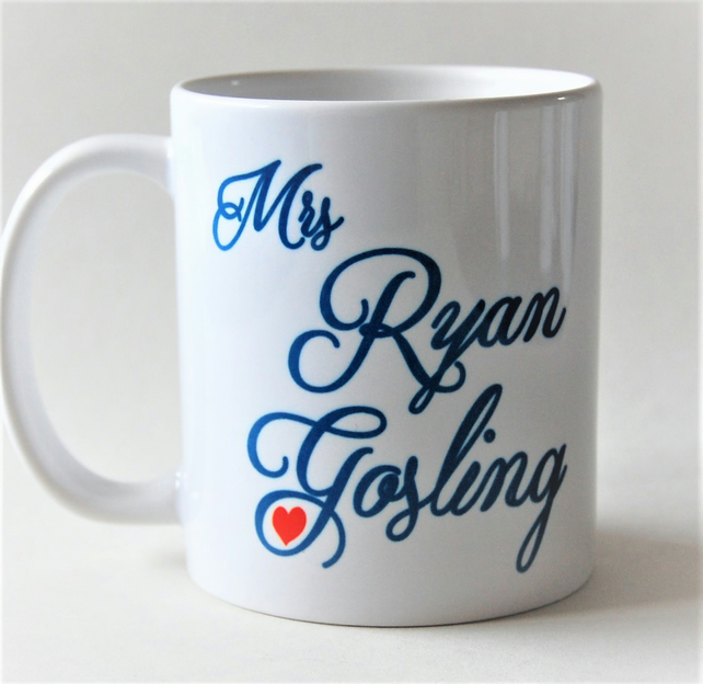 Mrs Ryan Gosling sweet heart mug birthday gift Mother's Day gift for her