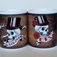 Wedding mugs Tattoo Skull mugs customised with date banner Mr and Mrs Mugs
