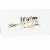 'Home Time' Cows Card