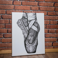 Black and white Ballet shoe Canvas Print