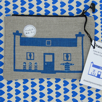 Cute Blue Croft House Screen Printed Zipper Pouch