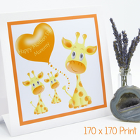 Mothers Day Giraffe Family Card Personalise with Names and Giraffes Apex Design
