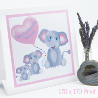 Mothers Day Elephant Family Card Personalise with Names & Elephants Apex Design