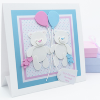 CARD to FRAME to GIFT New Baby Twins Funky Foam Teddy's Personalised Apex Card
