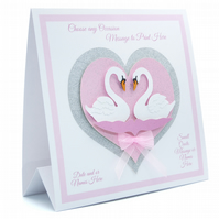 Wedding Card. Personalised. Bride & Groom. Engagement, Anniversary Swans