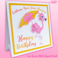 Flamingo Card Personalised 3D Card.Funny Birthday Card  Choice of Quote