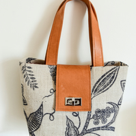 Hessian and Leather Handbag in Grey