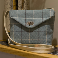 Blue Plaid Messenger Bag