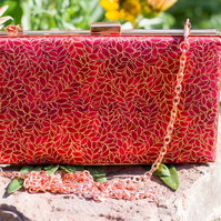 Red Minaudiere Clutch Bag with Chain Handle