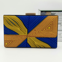 African Wax Cotton Minaudiere Clutch