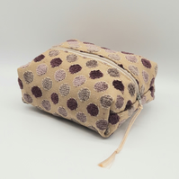 Mauve Spotty Make Up Bag