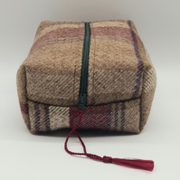 Moss Green and Maroon Wool Make Up Bag