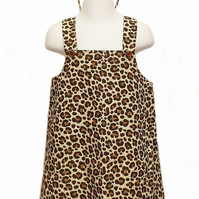 Toddlers Leopard Print Pinafore Dress and novelty leopard ear headband