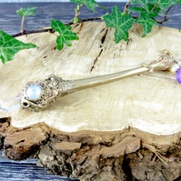 Quartz Crystal and Bone Wand
