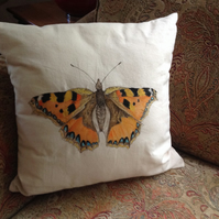 Bespoke, handpainted cushion cover