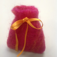 Mini jewellery pocket created from Handmade merino wool fleece felt. Free UK p&p