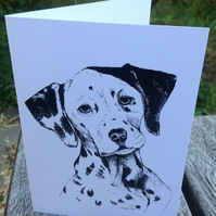 Detailed ink sketch of Darling the Dalmatian on a blank white card. Free UK p&p