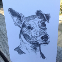 Ink pet illustration of Trigger the Jack Russel printed on a blank card. Free pp