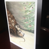 Christmas card from an original ink,watercolour sketch of a fully fed mouse