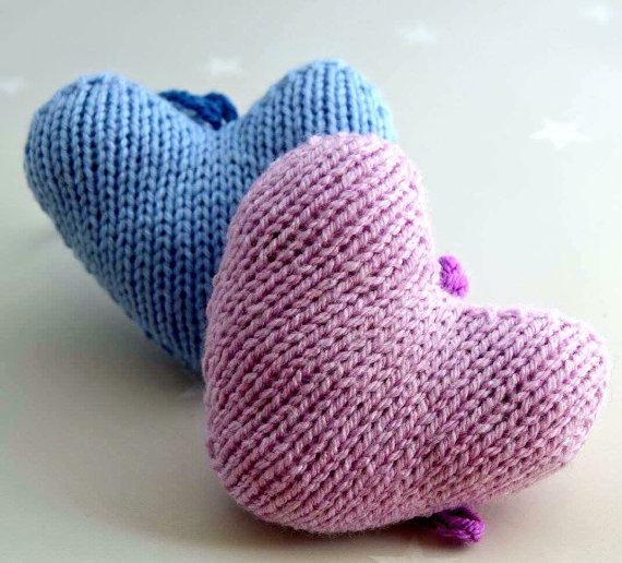 Hanging Heart Knitting Pattern : Hand knitted hanging heart nursery decoration - Folksy