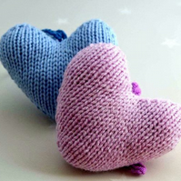 Hand knitted hanging heart nursery decoration