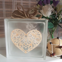 Heart Glass Block Light