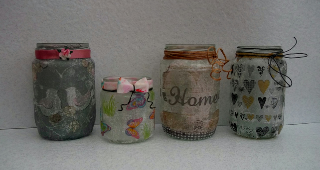 Decorated Glass Jars, Candle Holders, Pretty Jars, Lanterns, Utensil Holder