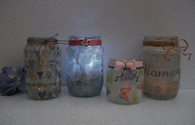 Decorated Glass Jars, Lanterns, Candle Holders, Pretty Jars, Utensil Holders