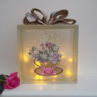 Floral Light, Shabby Chic Room Decor, Mothers Day Gift, Floral Glass Block Light