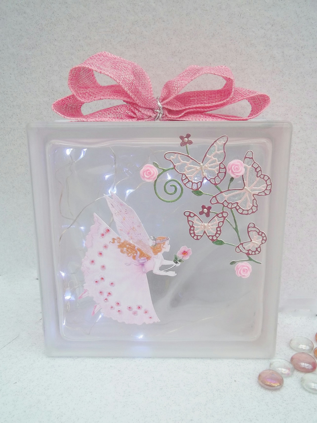 Fairy Room Light, Fairy Room Decoration, Fairy Glass Block Keepsake Light