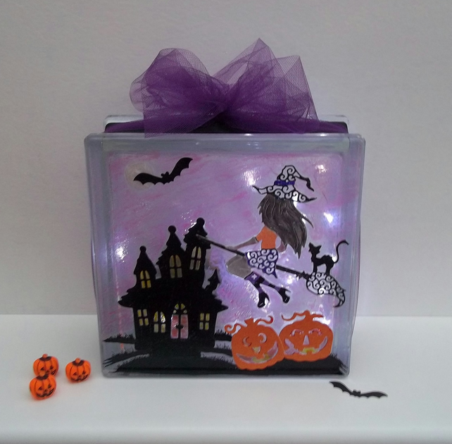 Halloween Light, Halloween Decoration, Haunted House, Witch, Glass Block Light