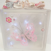 Butterfly Decor, Butterfly Gift, Butterfly Glass Block Light