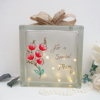 Personalised Mum Gift, Personalised Light up Block, Glass Block Light