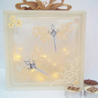 Dragonfly Decor, Dragonfly Gift, Dragonfly Glass Block Light