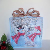 Christmas Light, Snowman Christmas Decoration, Christmas Glass Block Light