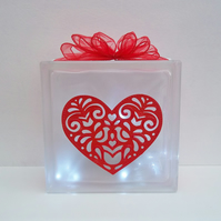 Heart Room Decor, Heart Themed Gift Heart Glass Block Light