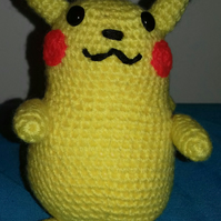 Crocheted amigurumi pikachu from pokemon