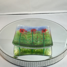 Poppy, Poppies, Fused Glass, Trinket Dish, bowl, jewellery, ring, soap, candle h