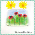 Poppies, Poppy, Fused Glass, Fused glass coaster, Glass coaster, Coaster, Coaste