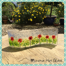 Poppy, Poppies, Fused Glass, Curved Glass, Glass Wave, Candle, Window Suncatcher