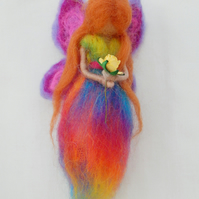 Rainbow Fairy needle felted fairy on hanging thread with yellow rose