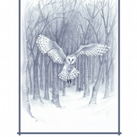 Owl in Flight Greeting Card signed print artists card