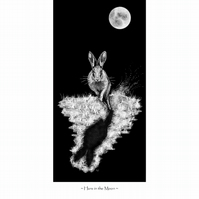 Hare in the Moon Signed print artists card