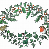 Robin and Wren Christmas Card Signed print artists card