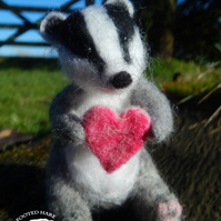 Badger with heart - Needle felted badger with love heart