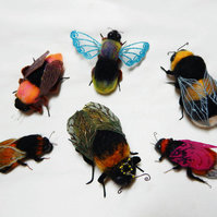 Bee swarm, needle felted bees (x6)