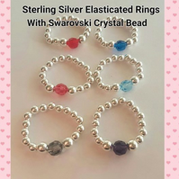 Sterling Silver Elasticated Beaded Ring