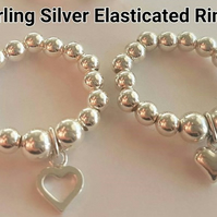 Sterling Silver Elasticated Beaded Charm Ring