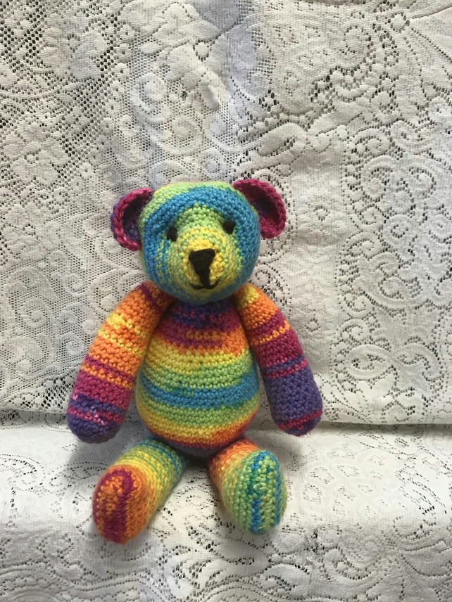"'Sunny' Rainbow Teddy Bear Handmade 12"" Crochet Soft Toy CE Marked"