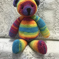 "'Sunny' Rainbow Teddy Bear Knit Handmade 12"" Crochet Soft Toy CE Marked"